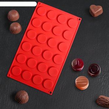 Форма для льда и шоколада «круг», 24 ячейки, цвет микс