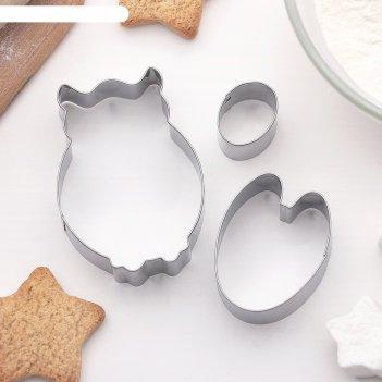 Набор форм для вырезания печенья сова, 3 шт