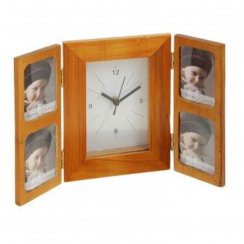 Часы настольные ширма, четыре фоторамки, 19.5х4 см