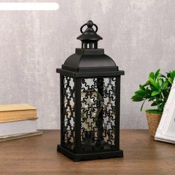 Светильник настольный домашний фонарь led черный 13,5х13,5х39 см.
