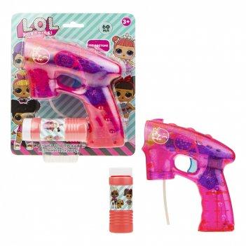 1toy lol, мыл. пистолет (прозрачн с блестками), световые эффекты , бут. 60