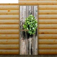 Дверь для бани и сауны веник, 190 х 70 см, с фотопечатью 6 мм добропаровъ