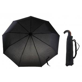 Зонт мужской автомат, ветроустойчивый, ручка-крючок комбинированная, цвет