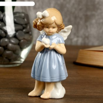 Сувенир керамика девочка-ангел в голубом платье с сердечком 11х4,8х5 см