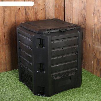 Компостер пластиковый, с крышкой, 380 л, 72 х 72 х 82.6 см, чёрный, prospe