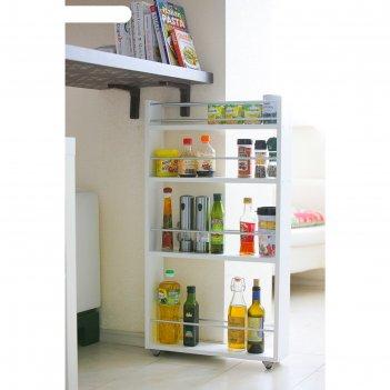 Выдвижная этажерка, для кухни и ванной комнаты 94х52х16 см, 4-х этажная, ц