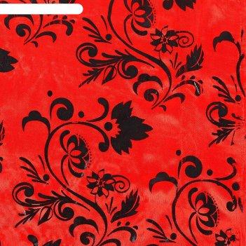 Ткань атлас красный с черным цветочным узором