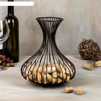 Корзина для пробок «ваза лофт», 21,6x21,6x26,5 см, цвет коричневый