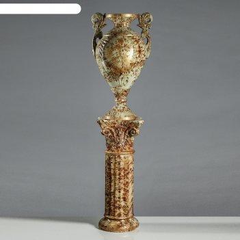 Ваза напольная амфора на колонне, под малахит, коричневая, 152 см