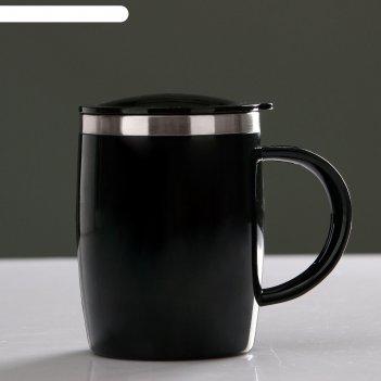 Термокружка алам 450 мл, с крышкой, 12х12 см, чёрная