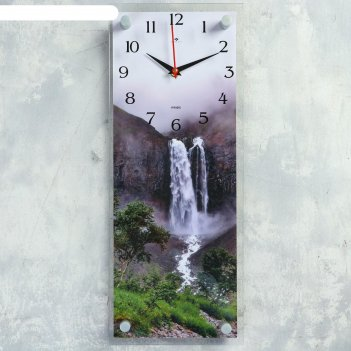 Часы настенные, серия природа, водопад в горах, плавный ход, 49.5х19.5 см