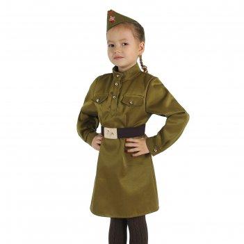 Карнавальный костюм для девочки военный, платье, ремень, пилотка, рост 104