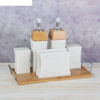 Набор для специй и соусов эстет. песок, 5 предметов на подставке