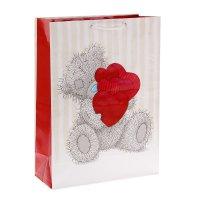 Пакет подарочный мишутка с сердечками, 26 х 36 х 11,5 см, me to you