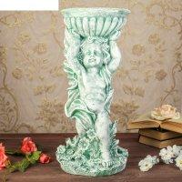 Статуэтка ангел с чашей  большой, под камень , цвет зелёный