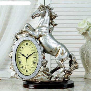 Часы настольные лошадь, цвет  серебро, 40х31х15 см