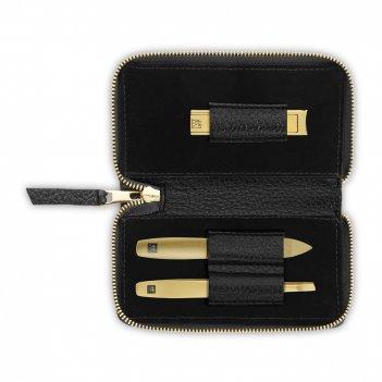 Набор маникюрный в кожаном футляре, цвет чёрный, 3 предмета, «twinox gold