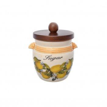 Банка для сахара с деревянной крышкой лимоны диаметр 13 см, высота 11 см