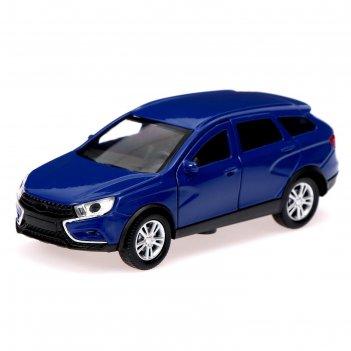 Машина металлическая lada xray, открываются двери, инерция, цвет синий