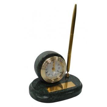 Настольный набор: ручка шариковая, часы из меди, на мраморной подставке, 1
