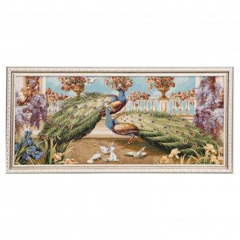 Гобеленовая картина павлины и голуби евро 80х38 см