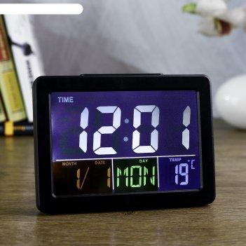 Часы-будильник электронные, с подсветкой, температура, дата, батарея 2ааа,