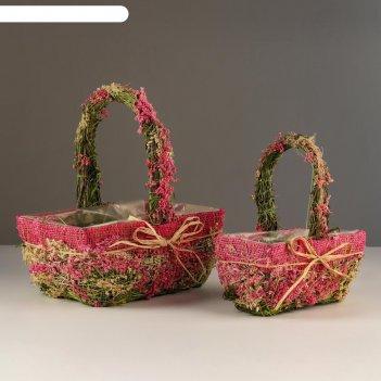 Набор корзин «цветочный бантик», 2 шт, 25x17x11/28 см, 19x10x9/22 см, трав