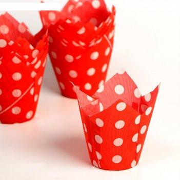 Форма для выпечки тюльпан, красный в белый горох, 5 х 8 см
