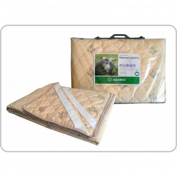 Наматрасник адамас овечья шерсть, размер 160х200 см, поликоттон, пакет