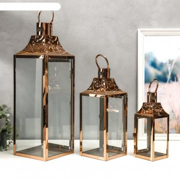 Подсвечник металл, стекло фонарь завитки медь н-р 3 шт 55х18х18 37,5х14,5х