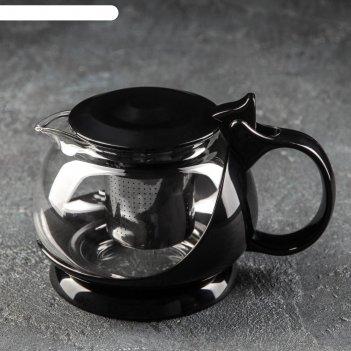 Чайник заварочный с металл ситом бетти 800 мл, 16,5х12х12 см, цвет черный