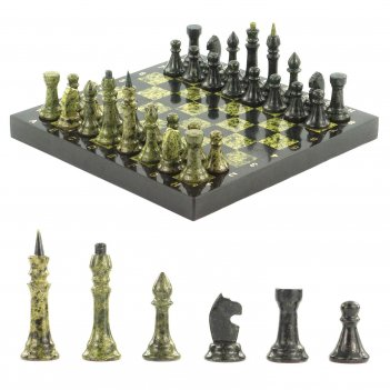 Шахматы доска 320х320 мм змеевик