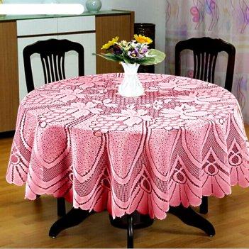 Скатерть, размер d 120, цвет розовый
