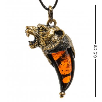 Am-1875 подвеска клык тигра (латунь, янтарь)