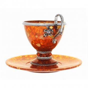 Чайный набор из янтаря виноград на 1 персону 120мл. (серебро)