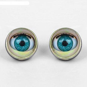 Глаза моргающие с ресничками, полупрозрачные, набор 2 шт, цвет зеленый, ра