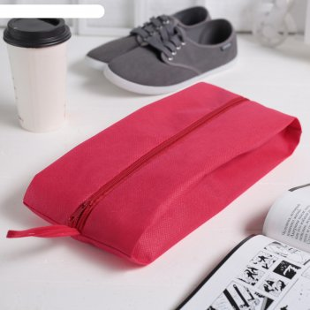 Сумка для обуви на молнии, 1 отдел, цвет красный