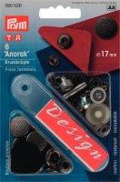 Непришивные кнопки anorak (латунь) чёрный цв. 17 мм, 6шт.
