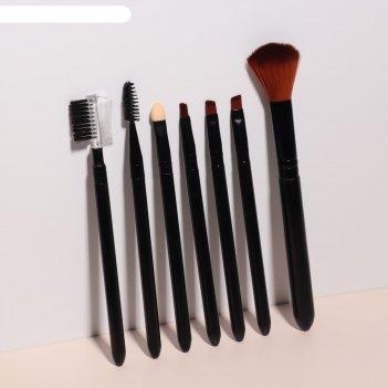 Набор кистей для макияжа, 7 предметов, цвета чёрный
