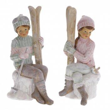 Фигурка декоративная мальчик с лыжами, девочка с лыжами, l10,5 w7,5 h18,5