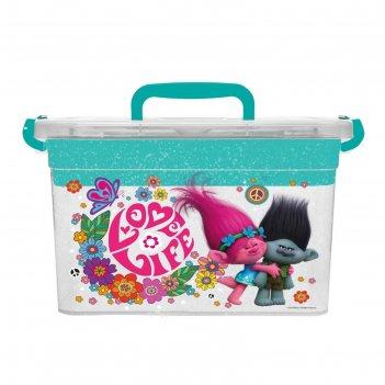 Контейнер для хранения игрушек с вкладышем trolls 6,5 л, микс