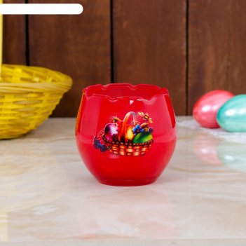 Свеча парафиновая в стекле с пасхальным декором, красная
