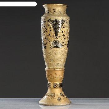 Ваза напольная вентария резка, золото, 106 см
