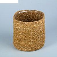 Кашпо флористическое с пластиковой вставкой, искусственный, 12х12 см