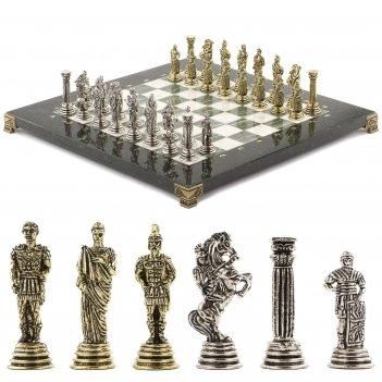 Шахматы римские легионеры 32х32 см офиокальцит мрамор