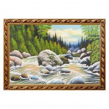 Картина горная река багет №6 (40х60 см)