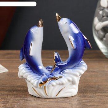 Сувенир керамика дельфинчики синие с золотом 9,5х3,8х8,5 см