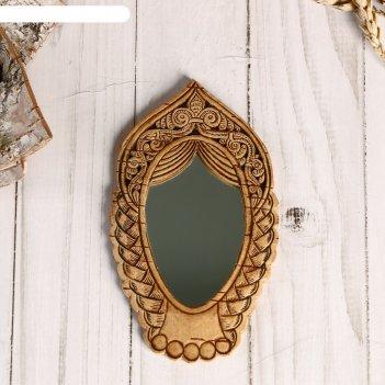 Зеркало «девица»,13х8 см, береста