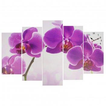 Часы настенные модульные «фиолетовые орхидеи», 80 x 140 см