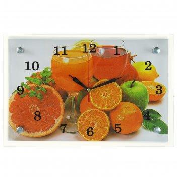 Часы настенные, серия: кухня, цитрусы, 20х30  см, микс